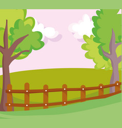 landscape wooden fence farm field nature tree vector image