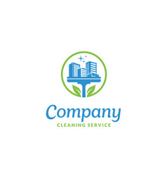 Leaf squeegee house building cleaning service logo vector