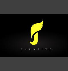 Letter j logo with yellow colors and wing design vector