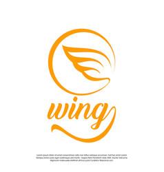 Line art wing logo modern minimalist vector