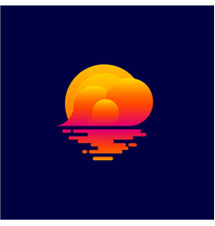Logo sunset tourism icon spa relax emblem vector