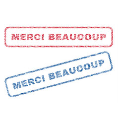 merci beaucoup textile stamps vector image