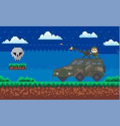 military people fighting monster men armed vector image
