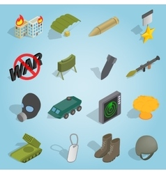 Military set icons isometric 3d style vector