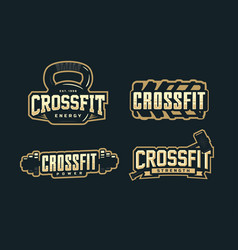 Modern professional logo emblem set for crossfit vector