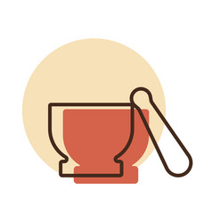 Mortar and pestle icon kitchen appliance vector
