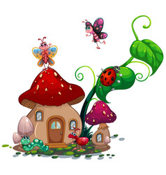 mushroom house with many insects vector image