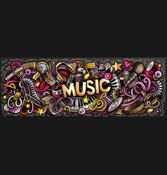 music hand drawn cartoon doodles vector image