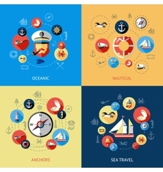 Nautical Colored Composition vector image