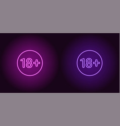 neon icon of age limit for under 18 vector image