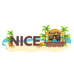 nice city france travel palm drink summer vector image