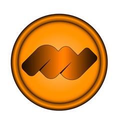 Orange round emblem with three-dimensional edging vector