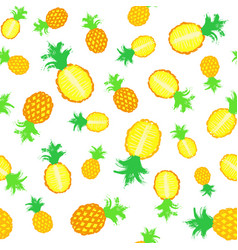 Pineapple background painted pattern vector