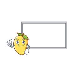 Pose mango character cartoon mascot with board vector