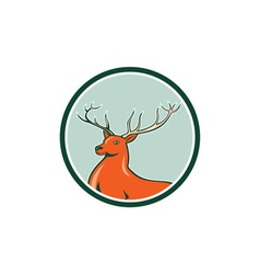 Red Stag Deer Side Circle Cartoon vector