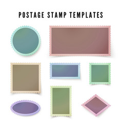 retro colorful postal stamp template with shadow vector image