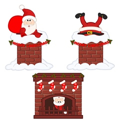 Santa Claus inside chimney and fireplace vector image