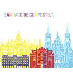 Santiago de compostela skyline pop vector