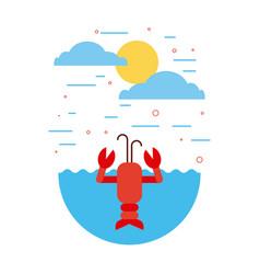 Sea life flat draw vector
