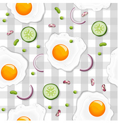 seamless pattern with fried egg vector image