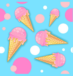 Seamless summer pattern with ice cream on blue vector