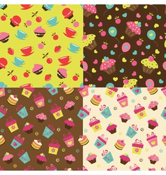 set cake seamless patterns vector image