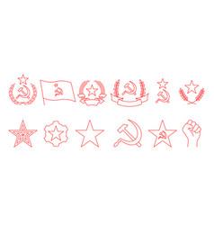 Set linear icon communism hammer sickle vector