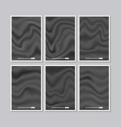 set of black silk texture vector image