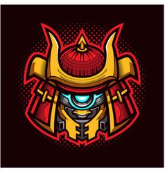 shogun robot head mascot logo vector image