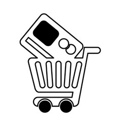 Shopping cart with credit card vector