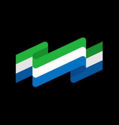 sierra leone flag ribbon isolated republic tape vector image