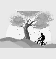 Silhouette woman cycling outdoor scene vector