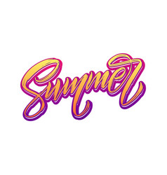 summer lettering isolated handwriting on white vector image