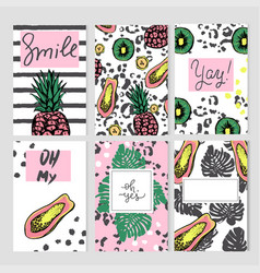 summer templates with hand drawn tropic fruts and vector image