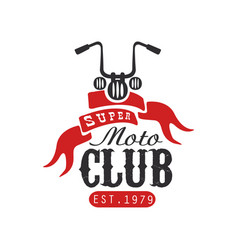 Super moto club logo est 1979 design element for vector