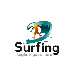 surf logo with man board and sea waves vector image