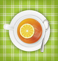 tea with lemon saucer spoon green cloth vector image