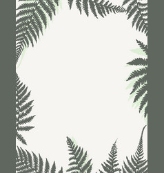 Template frame with fern leaves vector