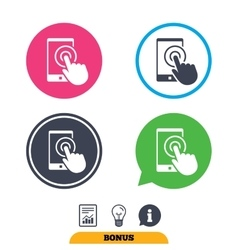 Touch screen smartphone sign icon Hand pointer vector image