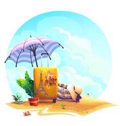 travel suitcase beach umbrella on sand vector image