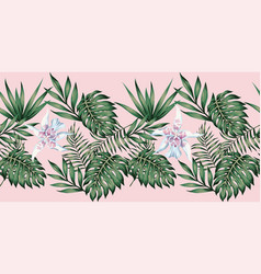 tropical leaves and flowers ribbon pink background vector image