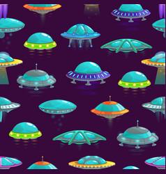 Ufo spaceships cartoon seamless pattern background vector