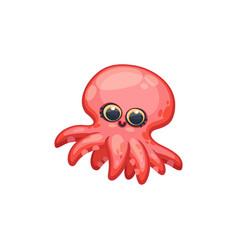 underwater creature - pink cartoon octopus kawaii vector image