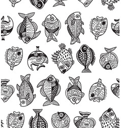 Underwater life seamless pattern with ink fishes vector