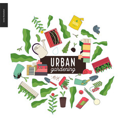 Urban farming and gardening collage vector