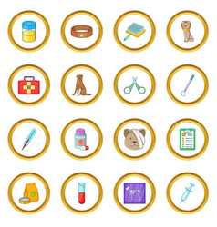Veterinary clinic icons circle vector