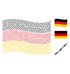 Waving german flag pattern of barbed wire items vector