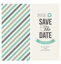 wedding invitation card with background stripes vector image