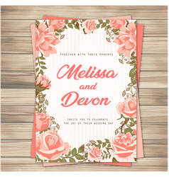 Wedding invitation pink roses pink background vect vector