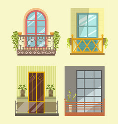 Wide windows with small cozy balcony in several vector